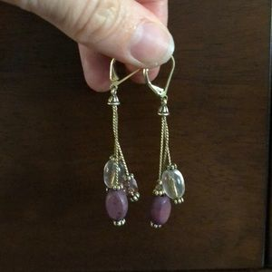 LAST CALL Purple and gold beaded earrings